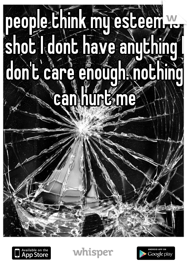 people think my esteem is shot I dont have anything I don't care enough. nothing can hurt me
