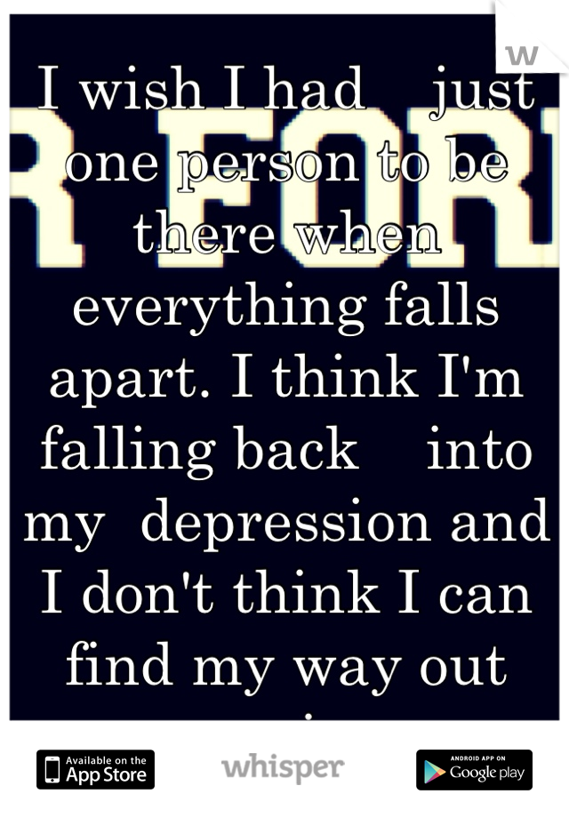 I wish I had    just one person to be there when everything falls apart. I think I'm falling back    into my  depression and I don't think I can find my way out again.