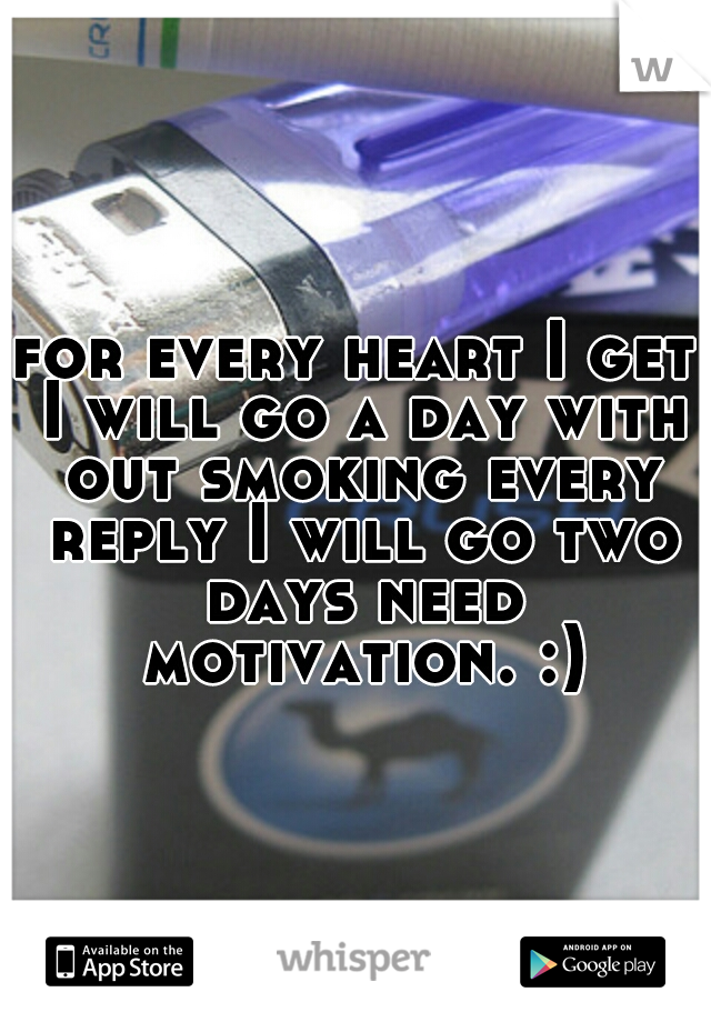 for every heart I get I will go a day with out smoking every reply I will go two days need motivation. :)