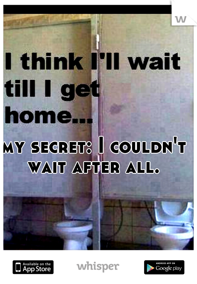 my secret: I couldn't wait after all.