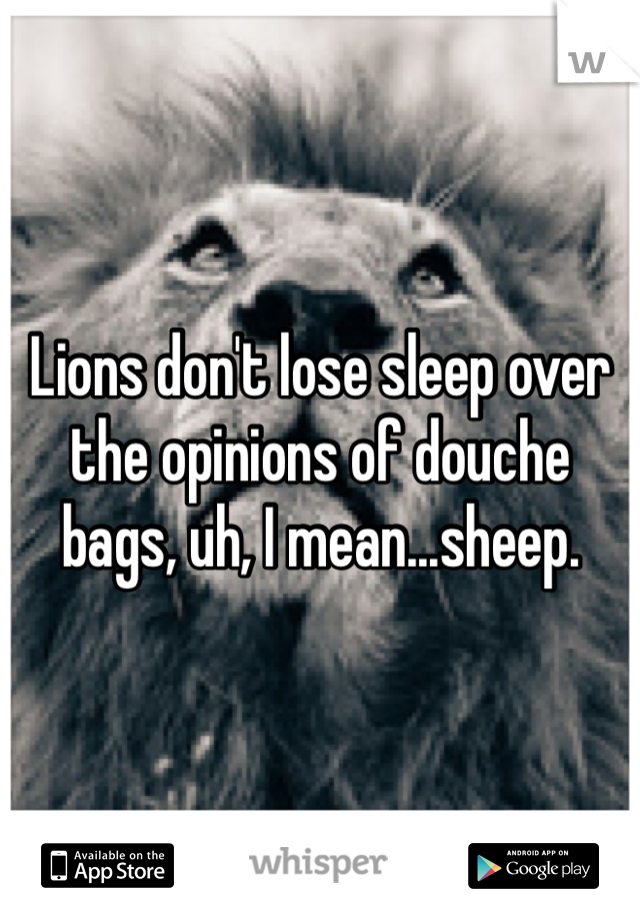 Lions don't lose sleep over the opinions of douche bags, uh, I mean...sheep.