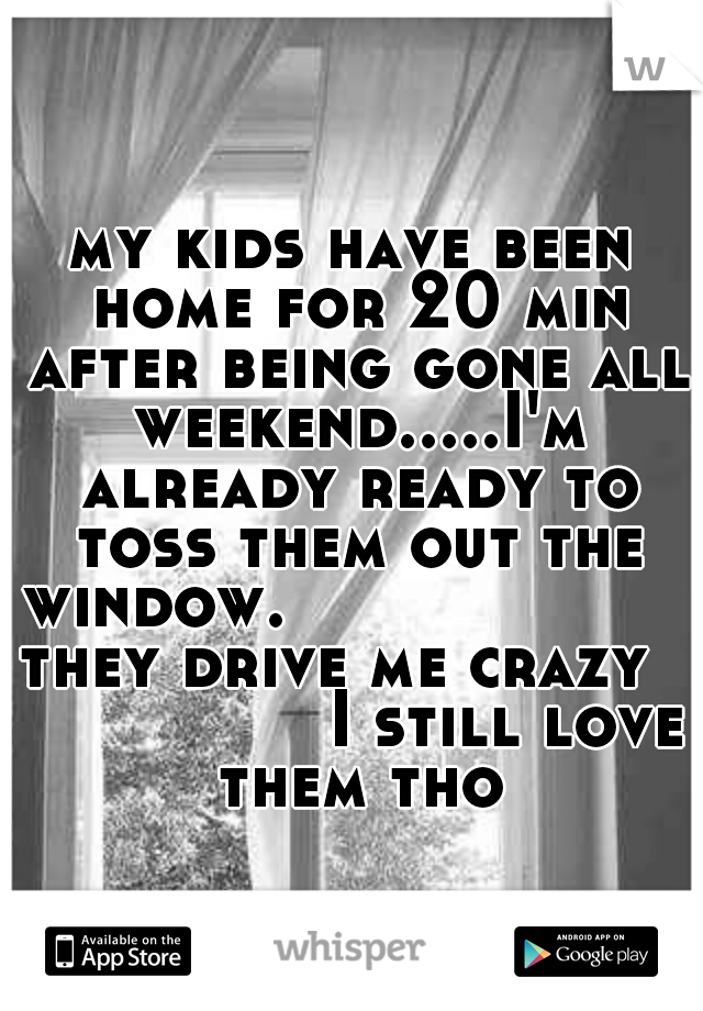 my kids have been home for 20 min after being gone all weekend.....I'm already ready to toss them out the window.                   they drive me crazy                 I still love them tho