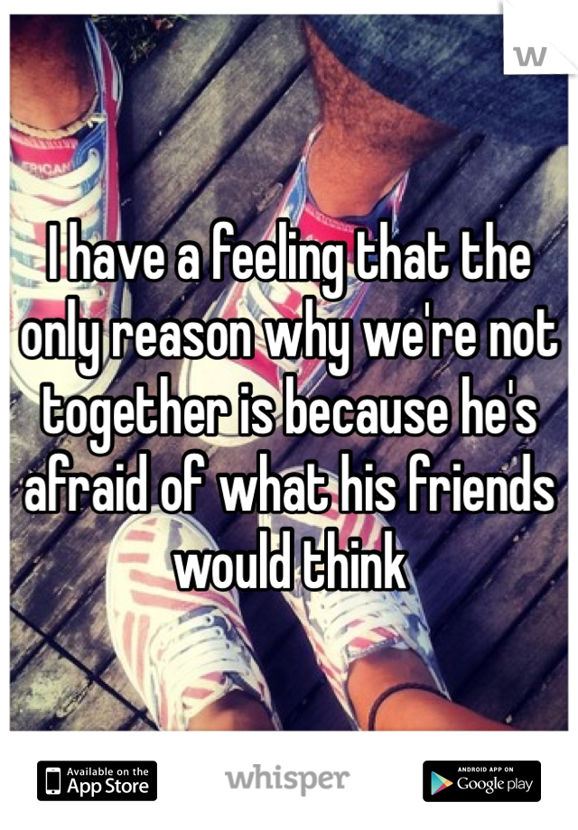 I have a feeling that the only reason why we're not together is because he's afraid of what his friends would think