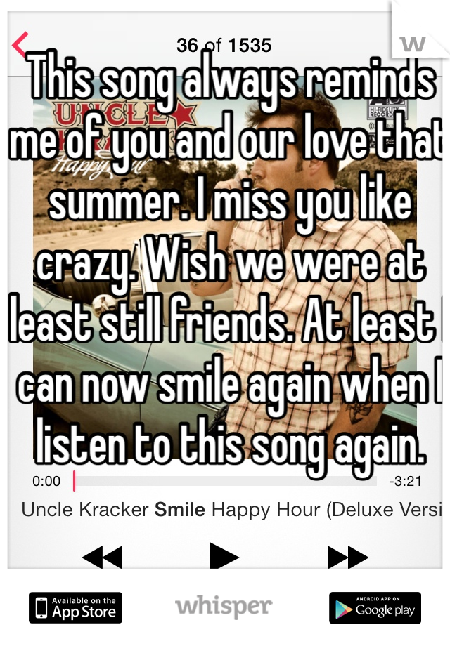 This song always reminds me of you and our love that summer. I miss you like crazy. Wish we were at least still friends. At least I can now smile again when I listen to this song again.