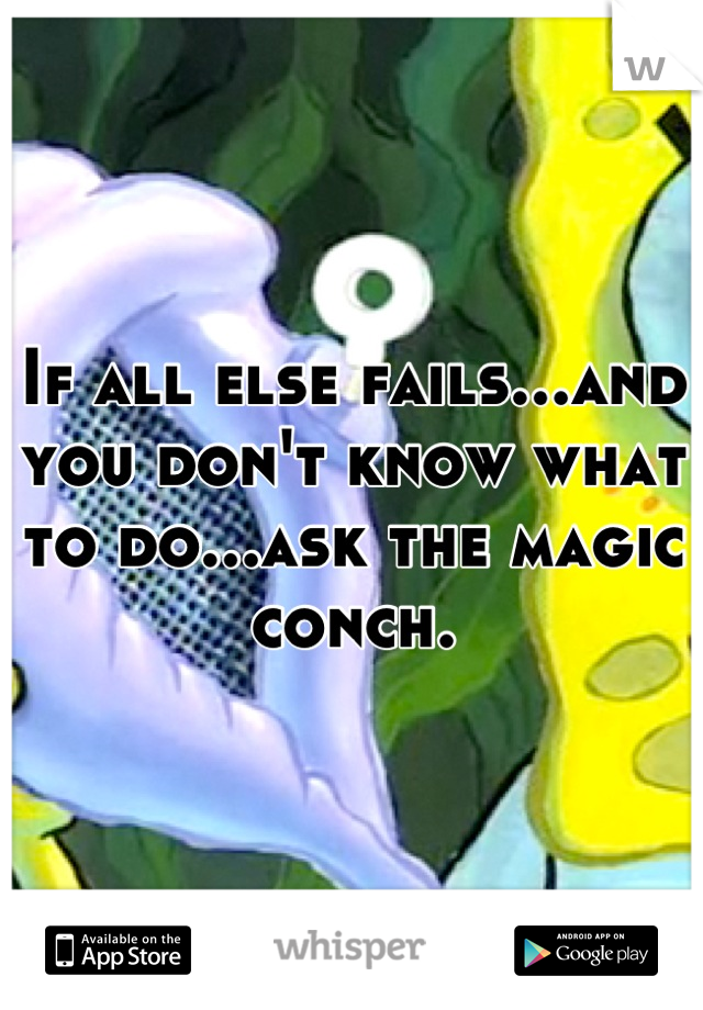 If all else fails...and you don't know what to do...ask the magic conch.