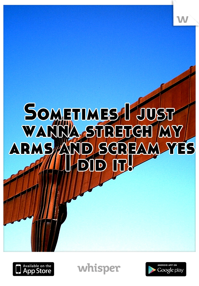 Sometimes I just wanna stretch my arms and scream yes I did it!