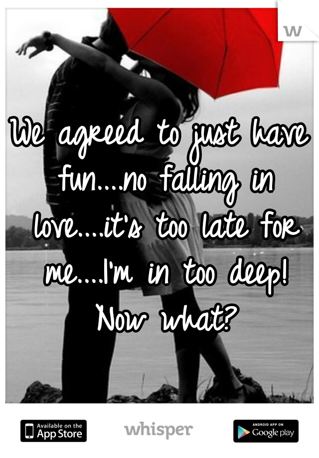 We agreed to just have fun....no falling in love....it's too late for me....I'm in too deep! Now what?