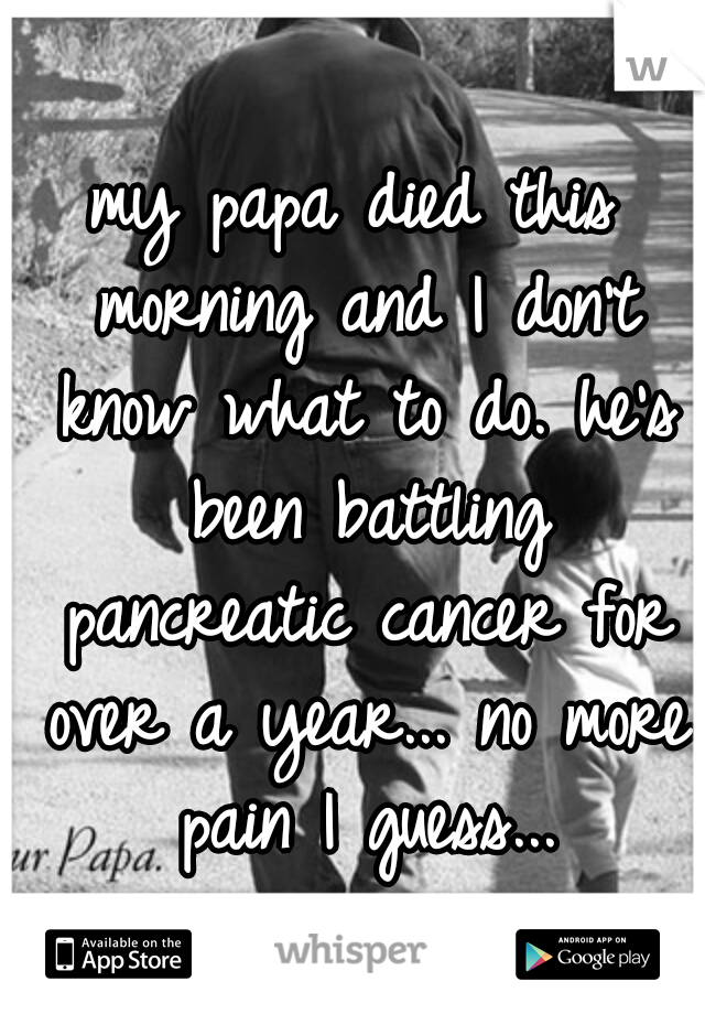 my papa died this morning and I don't know what to do. he's been battling pancreatic cancer for over a year... no more pain I guess...