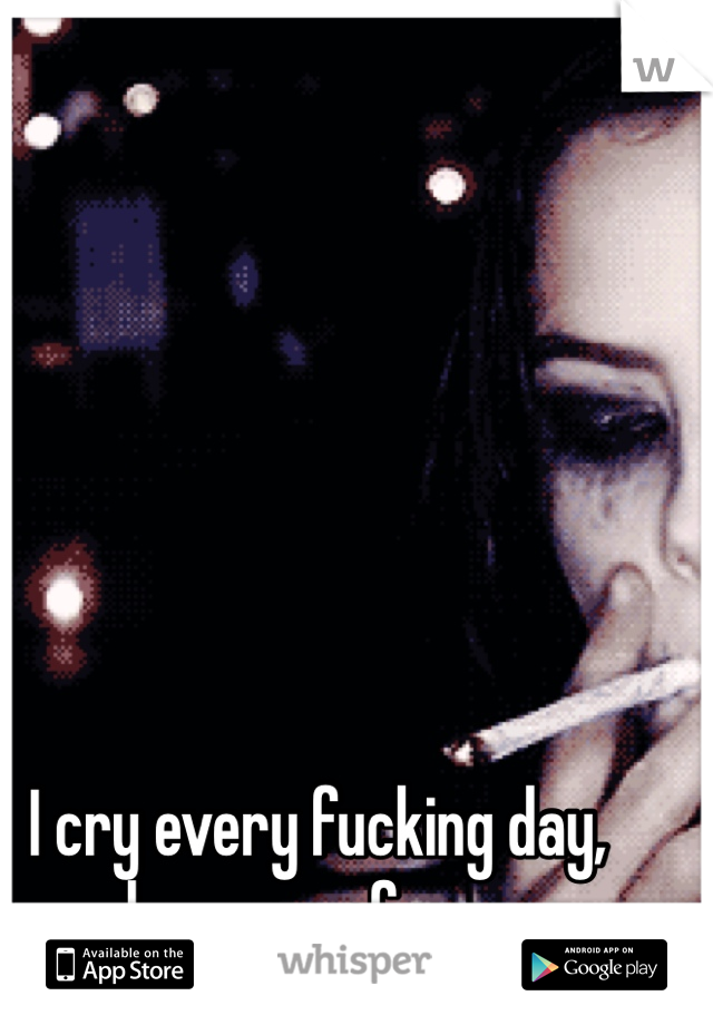 I cry every fucking day, because of you.
