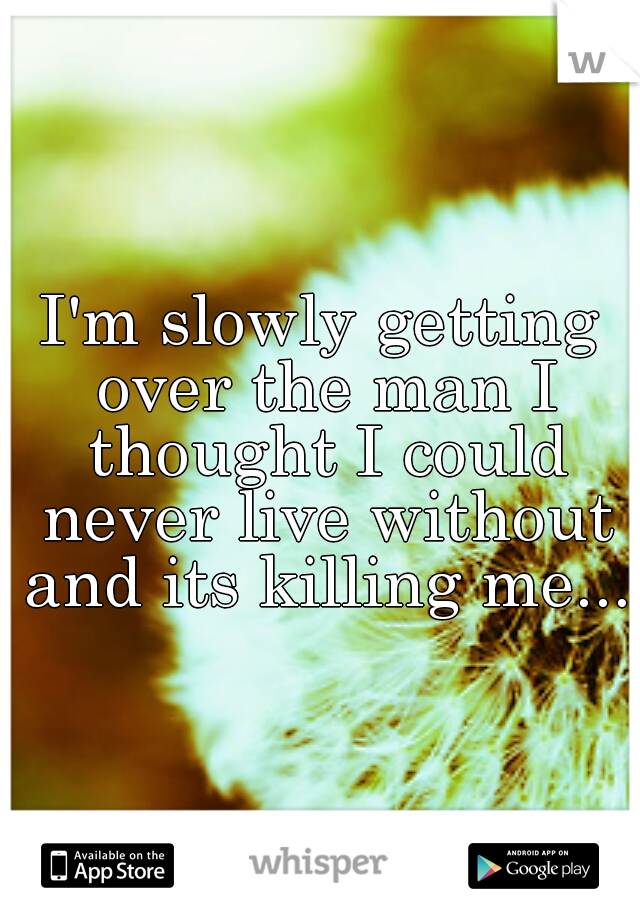 I'm slowly getting over the man I thought I could never live without and its killing me....