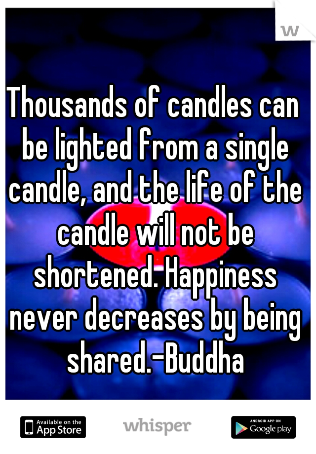 Thousands of candles can be lighted from a single candle, and the life of the candle will not be shortened. Happiness never decreases by being shared.-Buddha