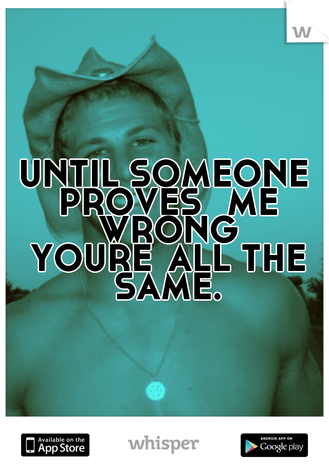 UNTIL SOMEONE PROVES  ME WRONG YOURE ALL THE SAME.