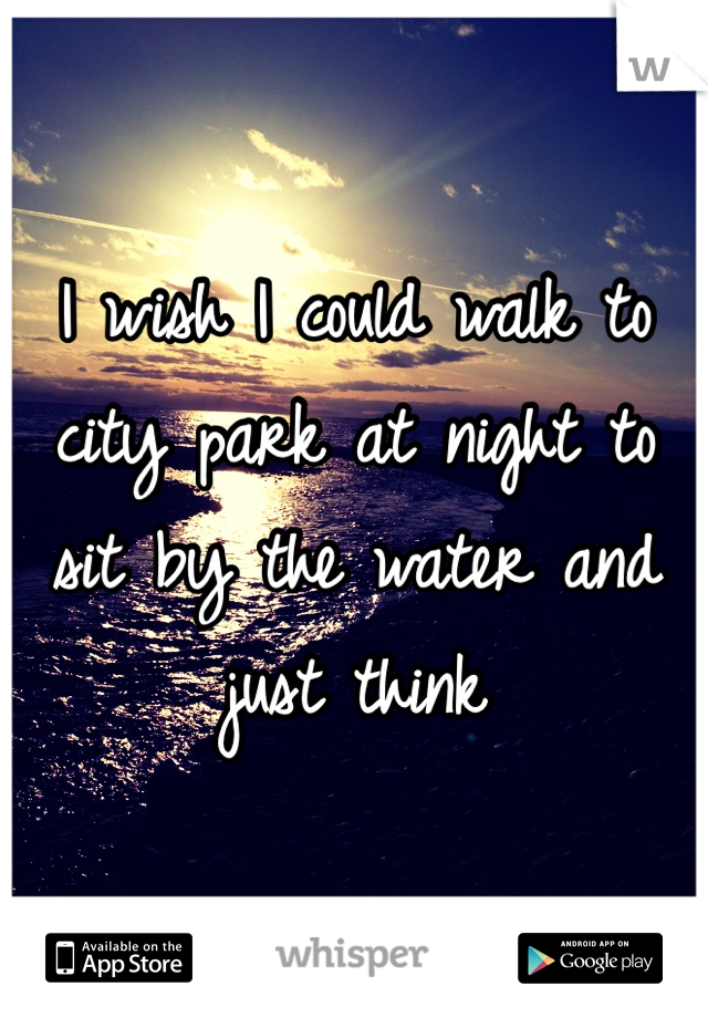 I wish I could walk to city park at night to sit by the water and just think
