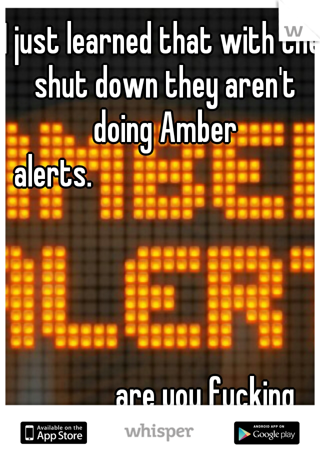I just learned that with the shut down they aren't doing Amber alerts.                                                                                                are you fucking kidding!