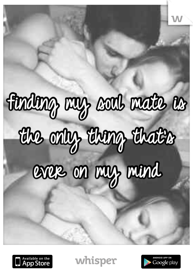 finding my soul mate is the only thing that's ever on my mind