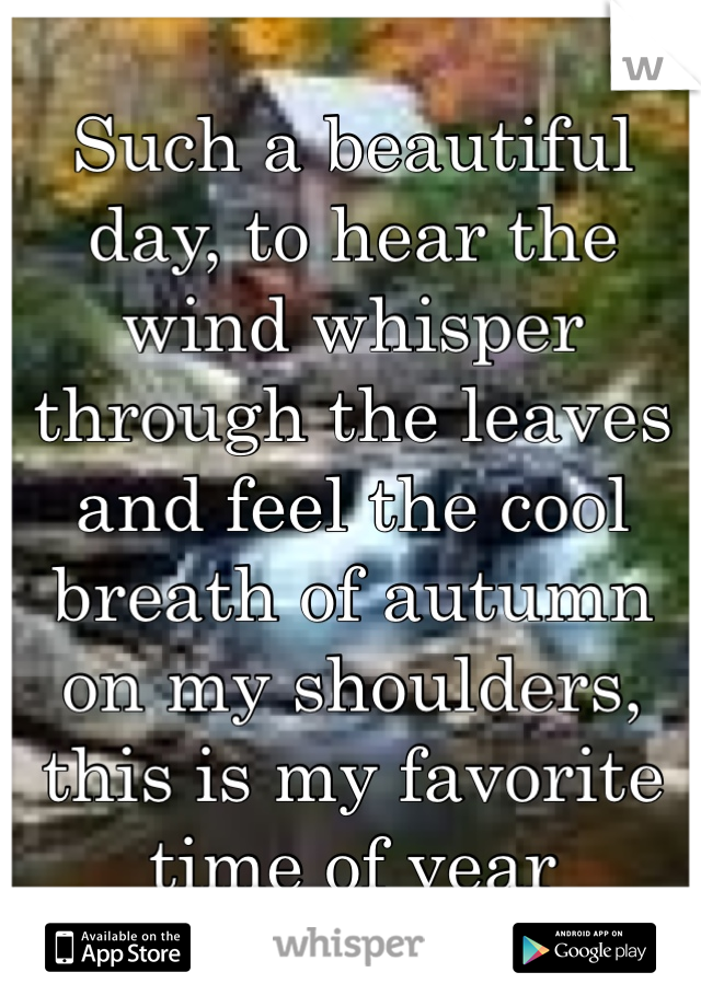 Such a beautiful day, to hear the wind whisper through the leaves and feel the cool breath of autumn on my shoulders, this is my favorite time of year