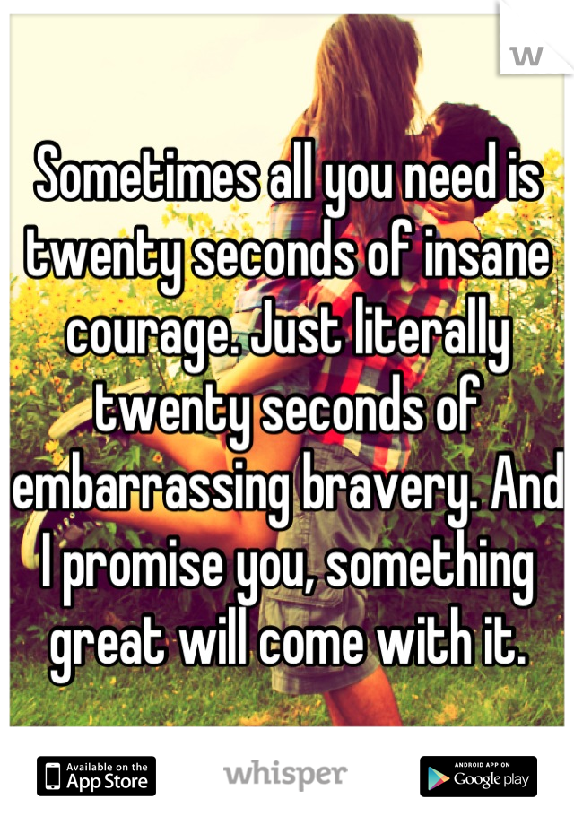 Sometimes all you need is twenty seconds of insane courage. Just literally twenty seconds of embarrassing bravery. And I promise you, something great will come with it.