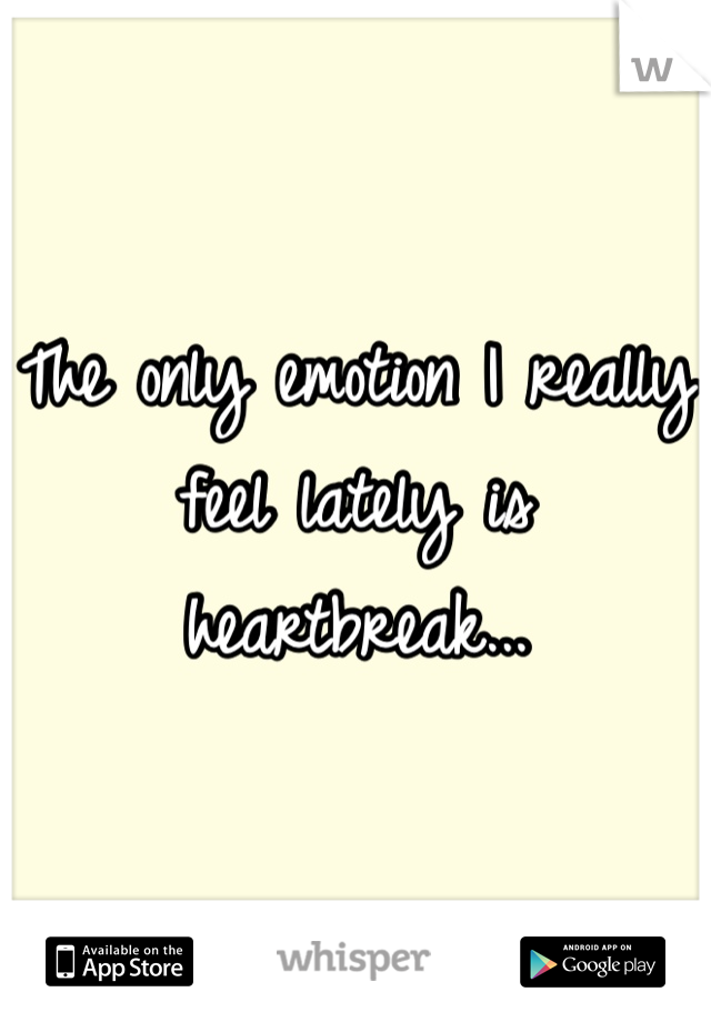 The only emotion I really feel lately is heartbreak...