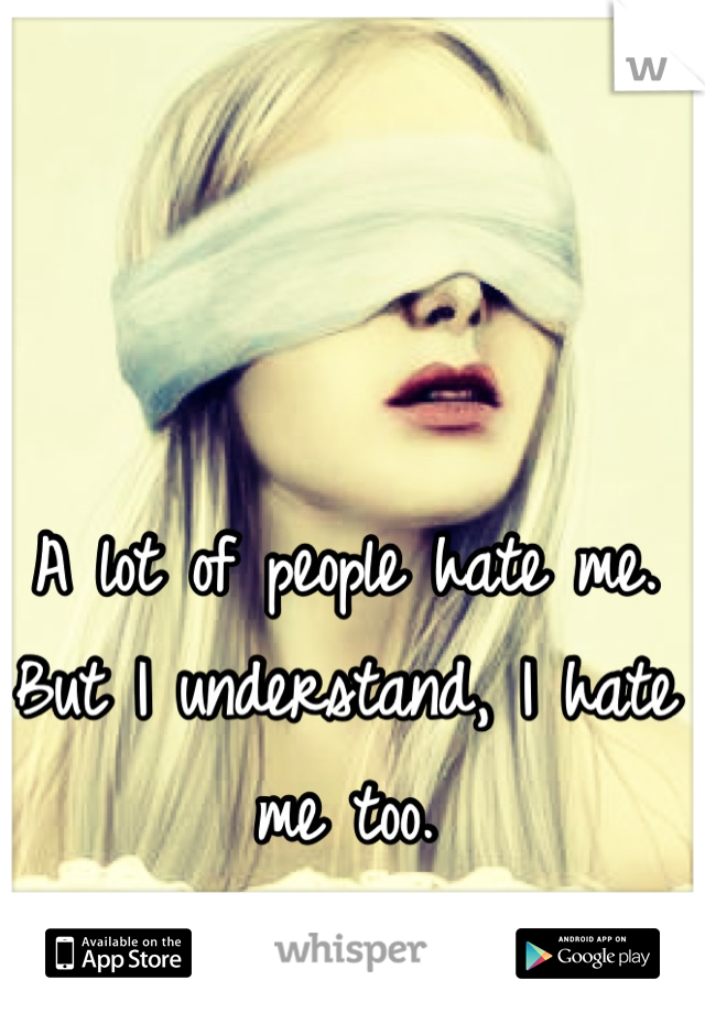 A lot of people hate me. But I understand, I hate me too.