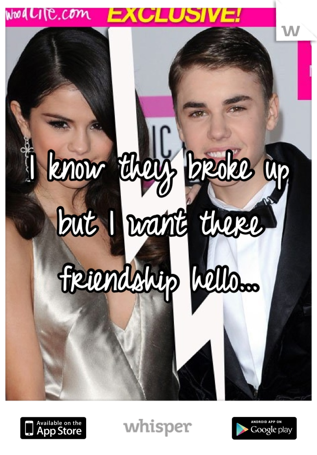 I know they broke up but I want there friendship hello...
