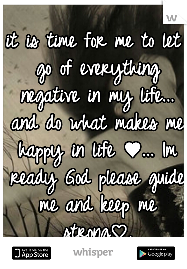 it is time for me to let go of everything negative in my life... and do what makes me happy in life ♥... Im ready God please guide me and keep me strong♡.