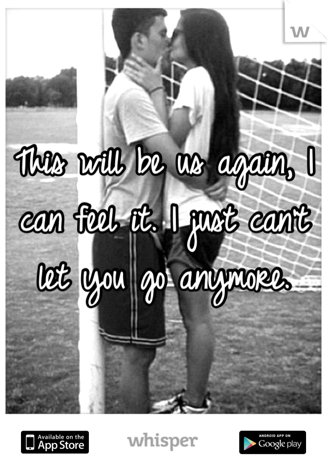 This will be us again, I can feel it. I just can't let you go anymore.