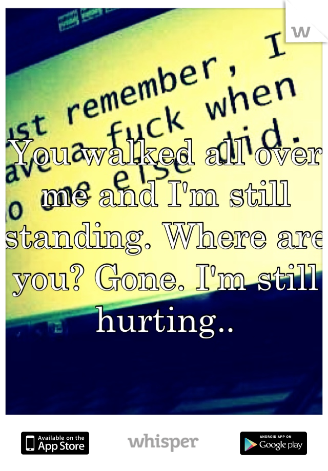 You walked all over me and I'm still standing. Where are you? Gone. I'm still hurting..