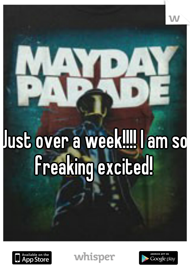Just over a week!!!! I am so freaking excited!