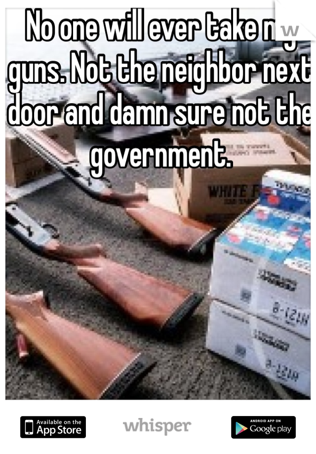 No one will ever take my guns. Not the neighbor next door and damn sure not the government.