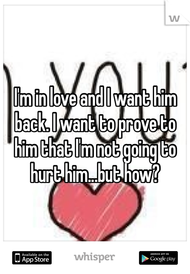 I'm in love and I want him back. I want to prove to him that I'm not going to hurt him...but how?