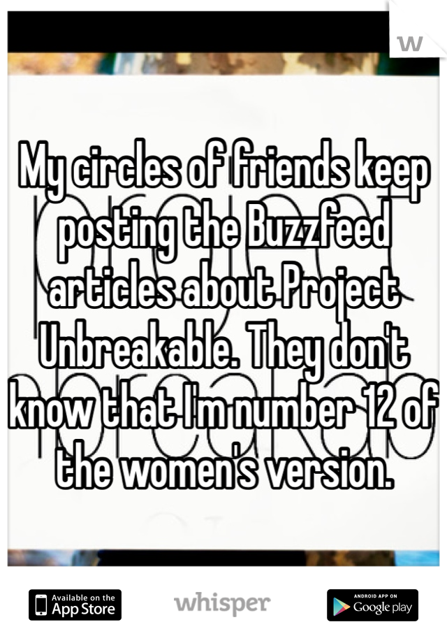 My circles of friends keep posting the Buzzfeed articles about Project Unbreakable. They don't know that I'm number 12 of the women's version.