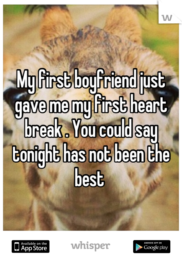 My first boyfriend just gave me my first heart break . You could say tonight has not been the best