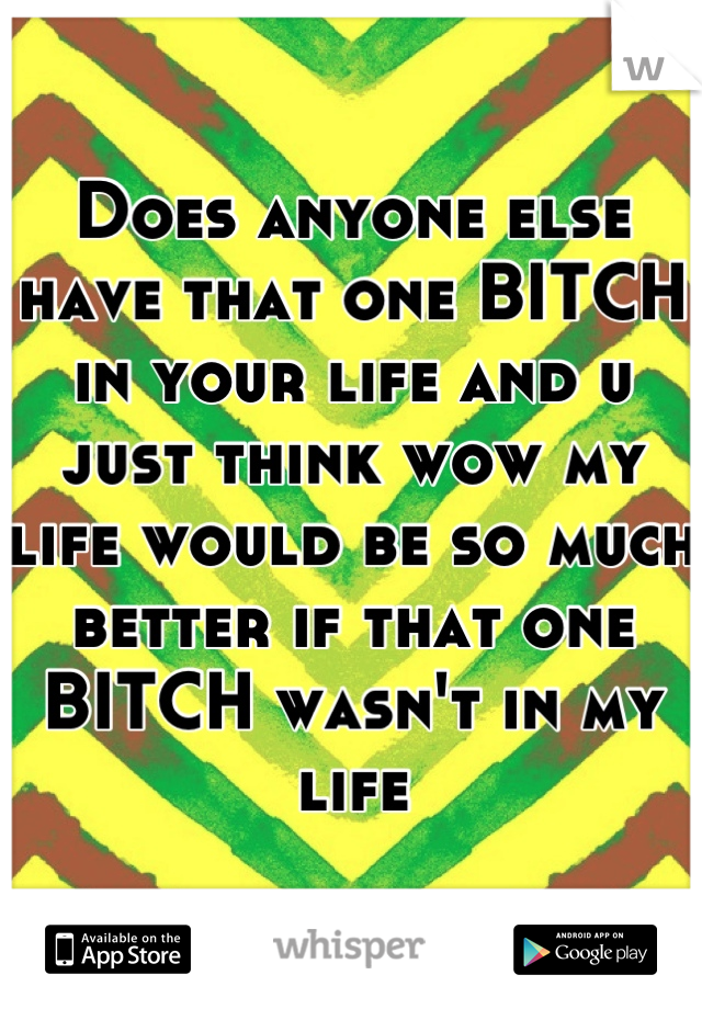 Does anyone else have that one BITCH in your life and u just think wow my life would be so much better if that one BITCH wasn't in my life