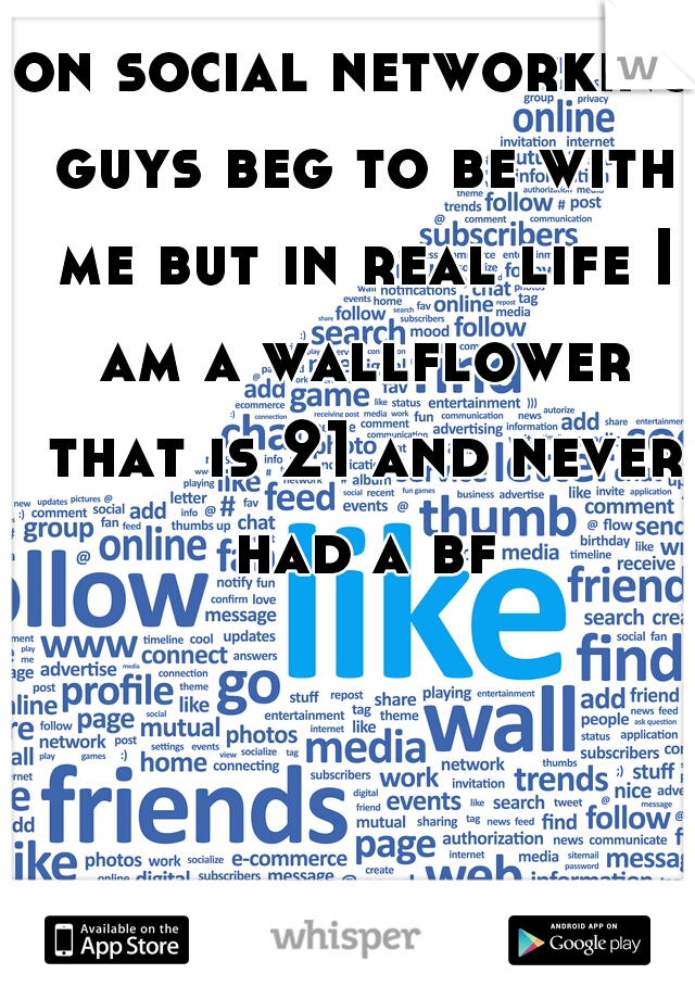 on social networking guys beg to be with me but in real life I am a wallflower that is 21 and never had a bf