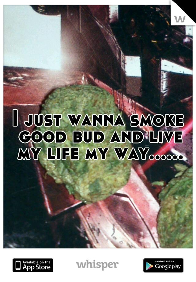 I just wanna smoke good bud and live my life my way......