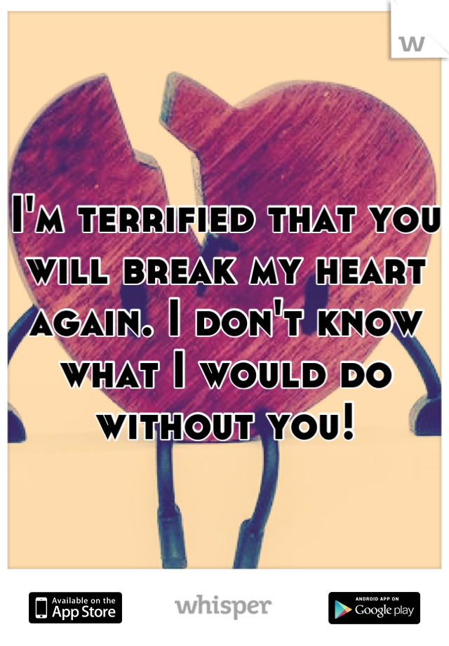 I'm terrified that you will break my heart again. I don't know what I would do without you!