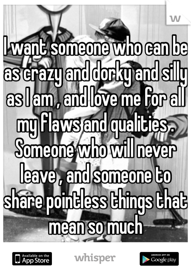 I want someone who can be as crazy and dorky and silly as I am , and love me for all my flaws and qualities . Someone who will never leave , and someone to share pointless things that mean so much