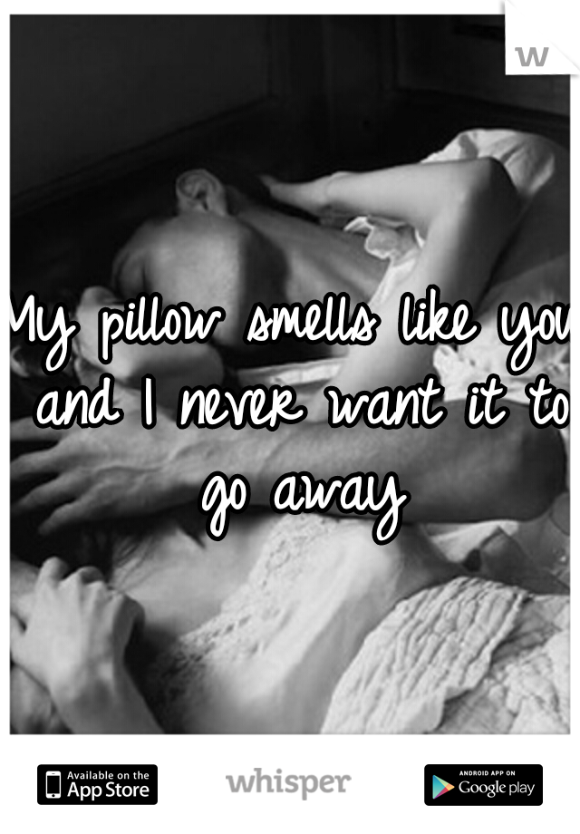 My pillow smells like you and I never want it to go away