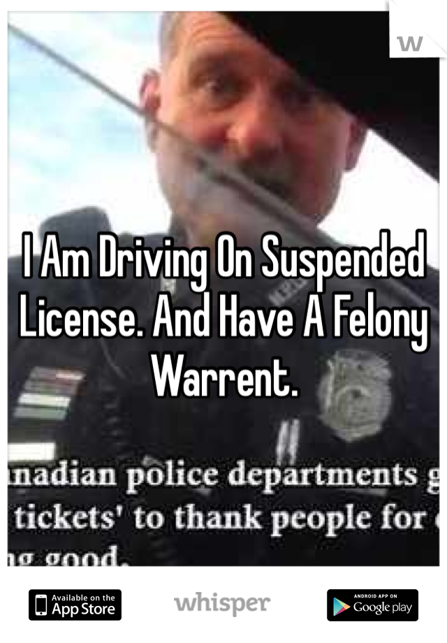 I Am Driving On Suspended License. And Have A Felony Warrent.