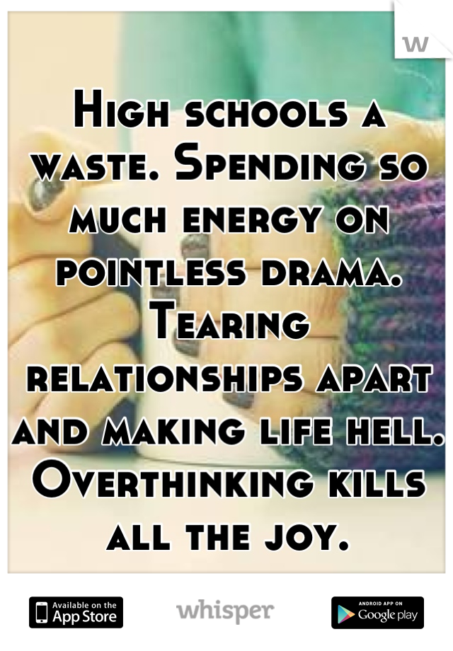 High schools a waste. Spending so much energy on pointless drama. Tearing relationships apart and making life hell. Overthinking kills all the joy.
