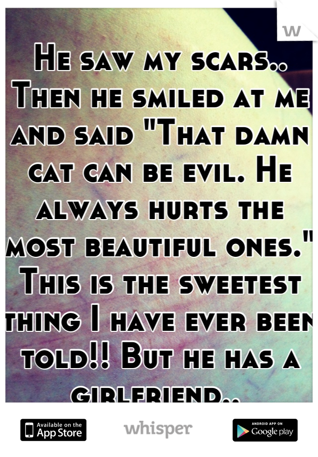 "He saw my scars.. Then he smiled at me and said ""That damn cat can be evil. He always hurts the most beautiful ones."" This is the sweetest thing I have ever been told!! But he has a girlfriend.."