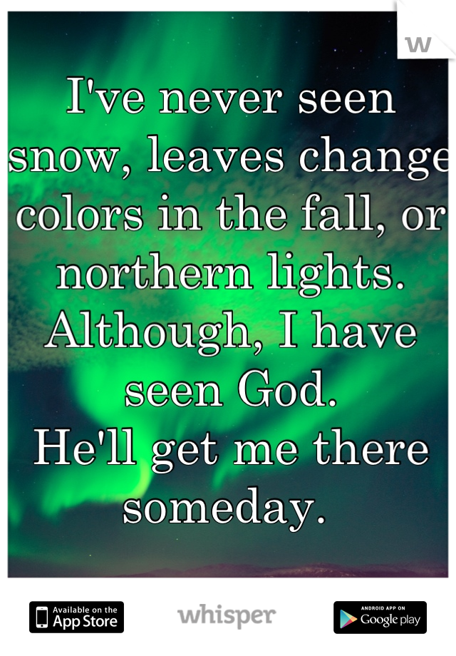 I've never seen snow, leaves change colors in the fall, or northern lights.  Although, I have seen God. He'll get me there someday.