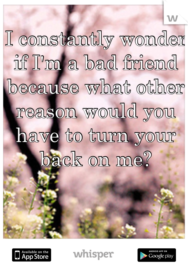 I constantly wonder if I'm a bad friend because what other reason would you have to turn your back on me?