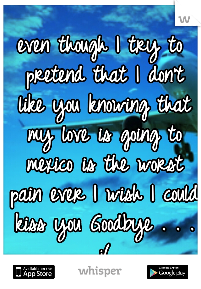 even though I try to pretend that I don't like you knowing that my love is going to mexico is the worst pain ever I wish I could kiss you Goodbye . . . :(