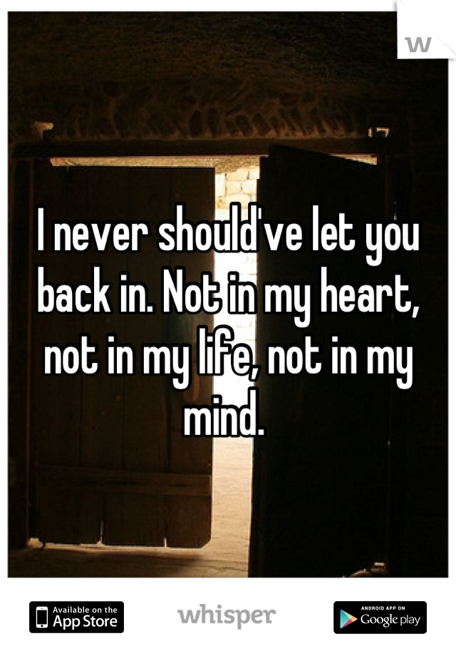 I never should've let you back in. Not in my heart, not in my life, not in my mind.
