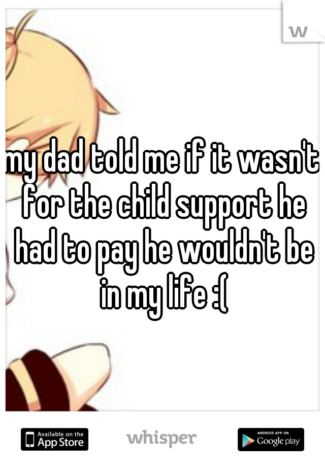 my dad told me if it wasn't for the child support he had to pay he wouldn't be in my life :(