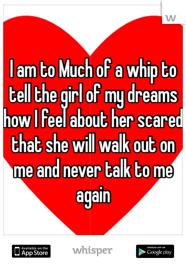 I am to Much of a whip to tell the girl of my dreams how I feel about her scared that she will walk out on me and never talk to me again