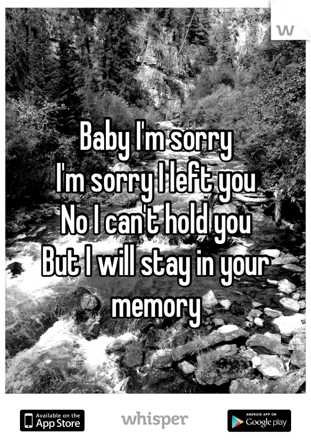 Baby I'm sorry  I'm sorry I left you No I can't hold you  But I will stay in your memory