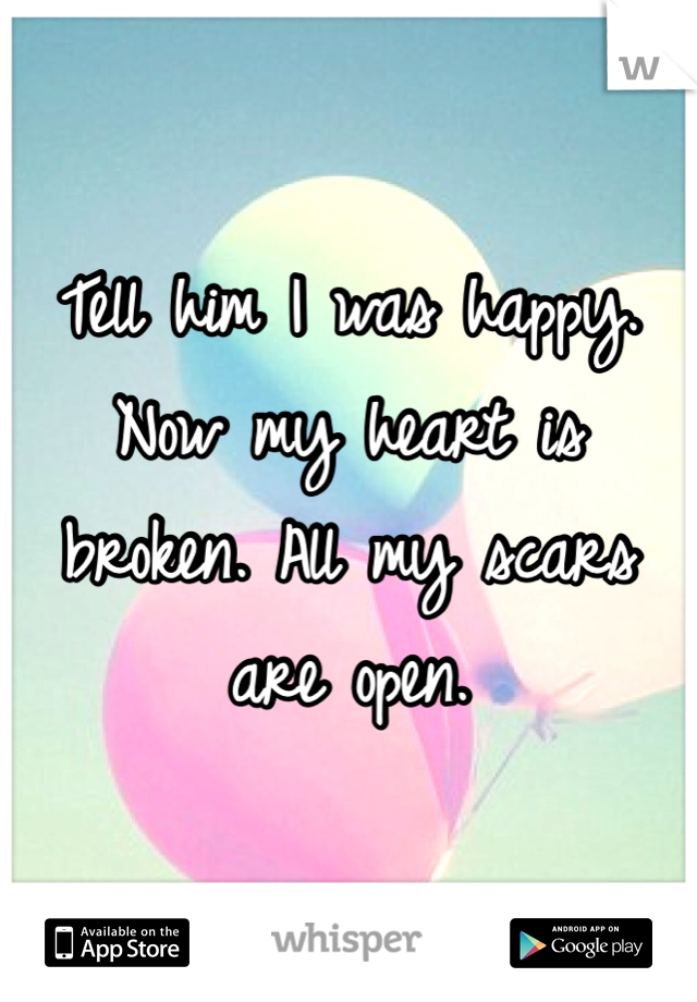 Tell him I was happy. Now my heart is broken. All my scars are open.