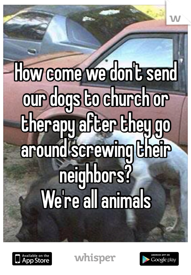 How come we don't send our dogs to church or therapy after they go around screwing their neighbors? We're all animals